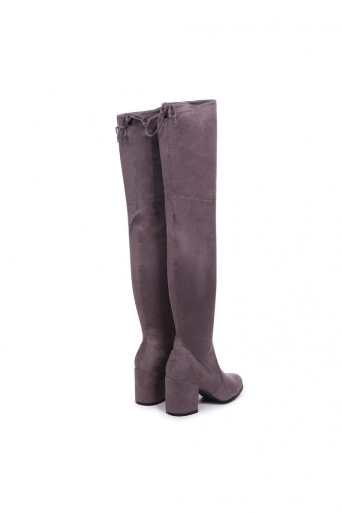 Linzi Amber Grey Suede Block Heeled Over The Knee Boots with Tie Up Back