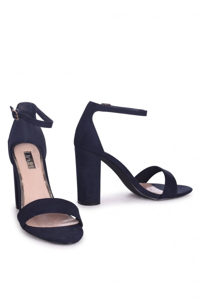 Linzi Nelly Navy Suede Single Sole Block Heels