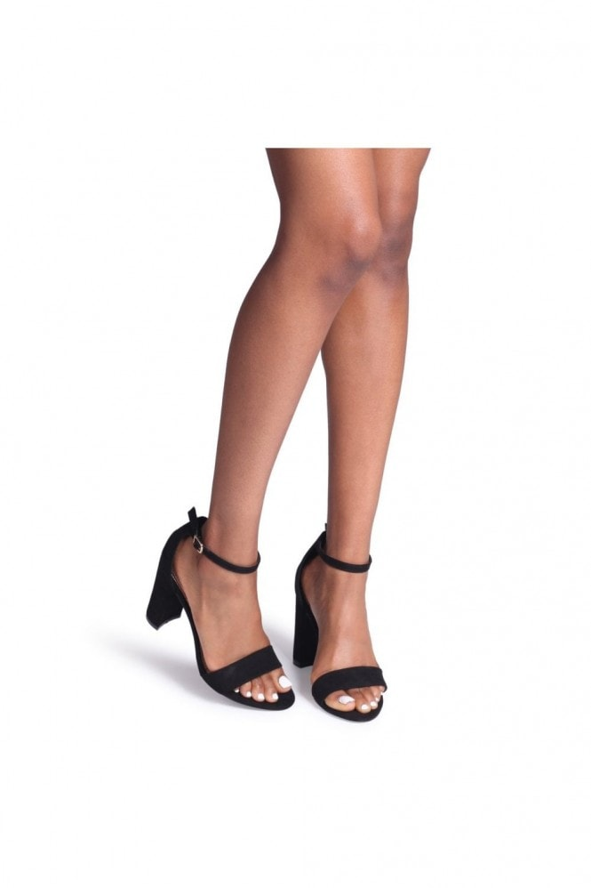 Linzi Nelly Black Suede Single Sole Block Heels