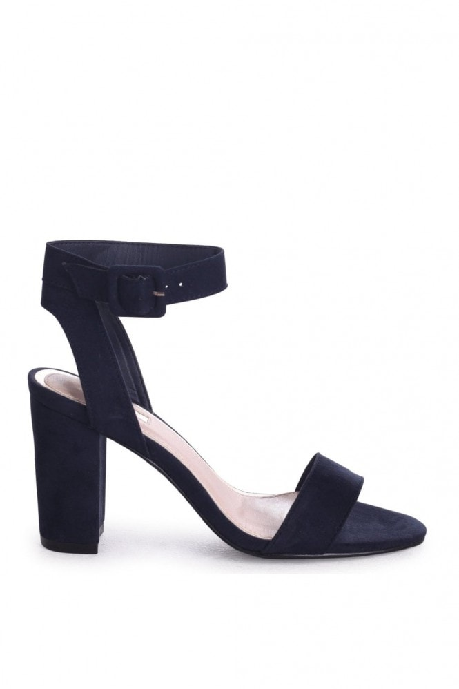 Linzi MILLIE - Navy Suede Open Toe Block Heel With Ankle Strap And Buckle Detail