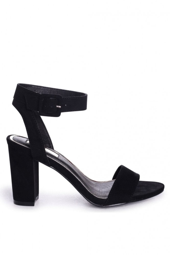 Linzi Millie Black Suede Open Toe Block Heels With Ankle Strap And Buckle Detail