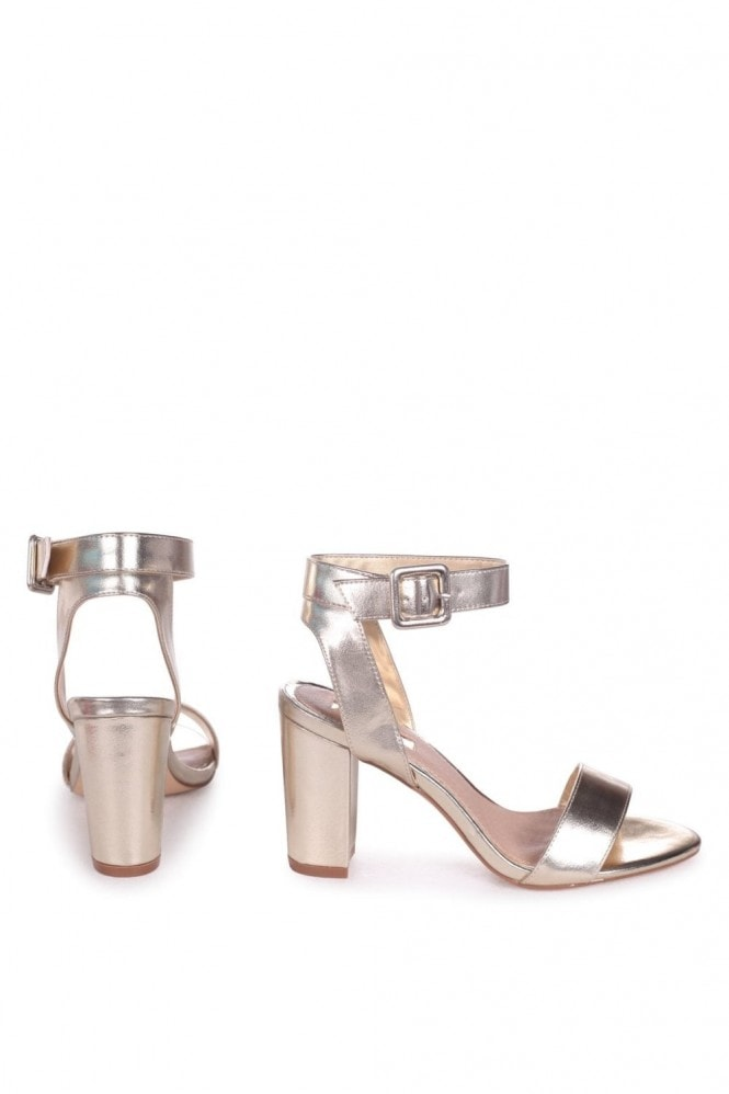 Linzi Millie Gold Metallic Open Toe Block Heels With Ankle Strap And Buckle Detail
