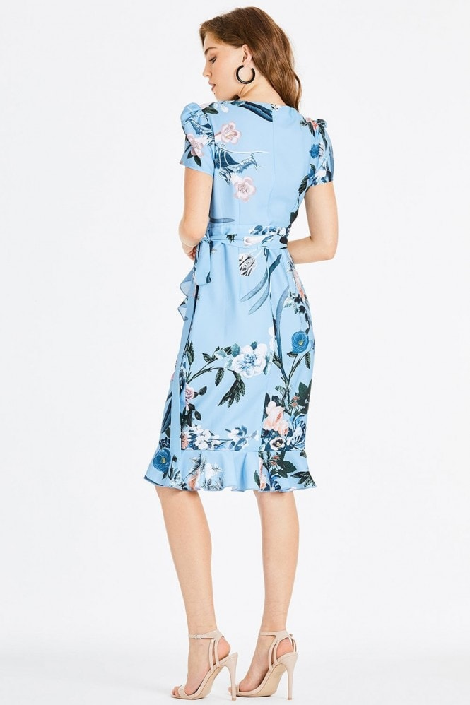 Little Mistress Rori Blue Floral Midi Wrap Dress