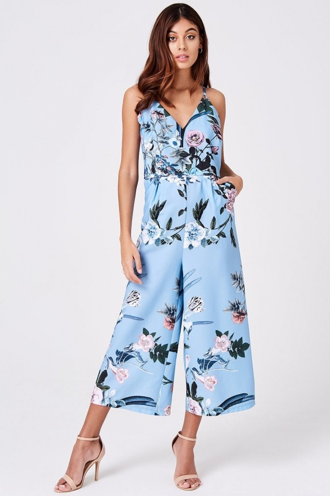 Little Mistress Rori Blue Floral Lace Jumpsuit