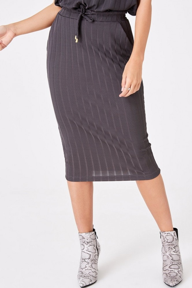 Girls on Film Nimble Charcoal Rib Midi Skirt Co-ord