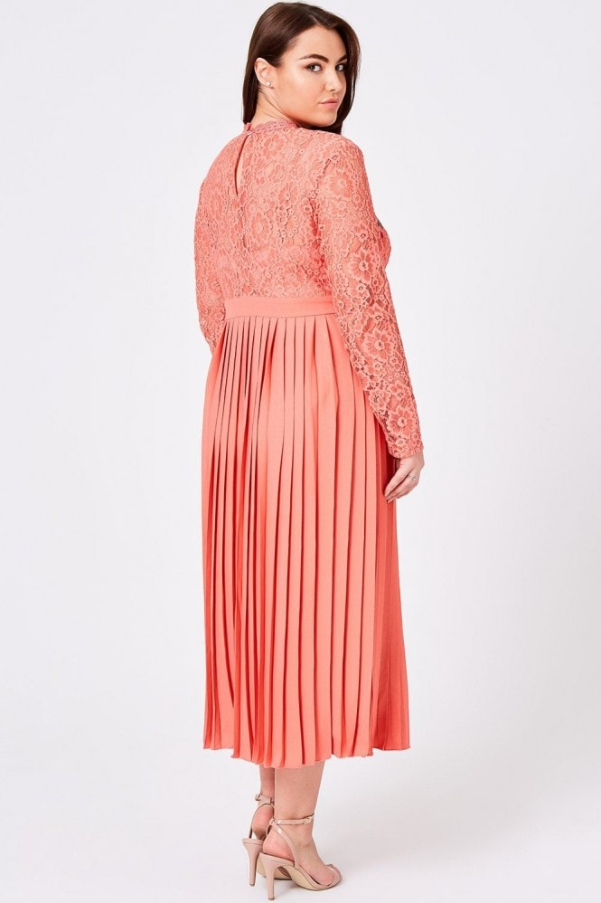 Little Mistress Curvy Casey Grapefruit Pleated Midaxi Dress