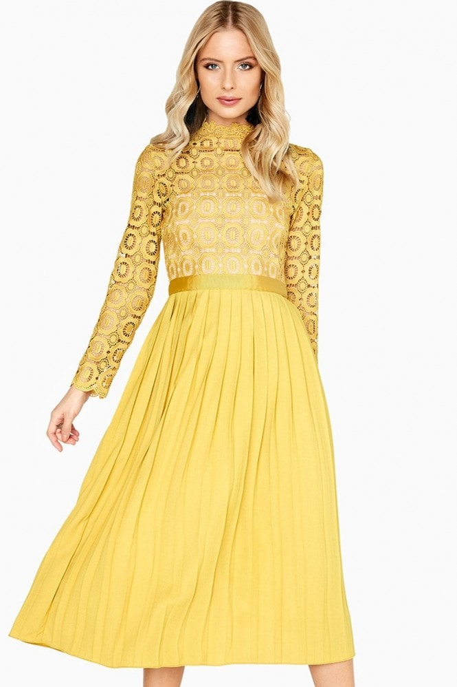 Little Mistress Alice Mustard Crochet Top Midaxi Dress With Pleated Skirt