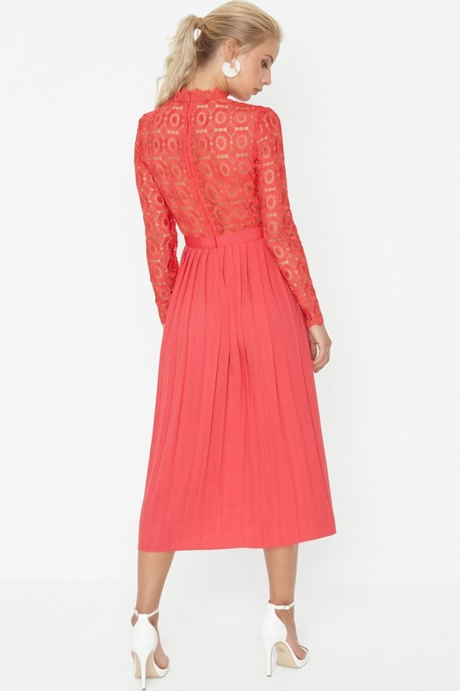 Little Mistress Alice Poppy Crochet Top Midaxi Dress With Pleated Skirt