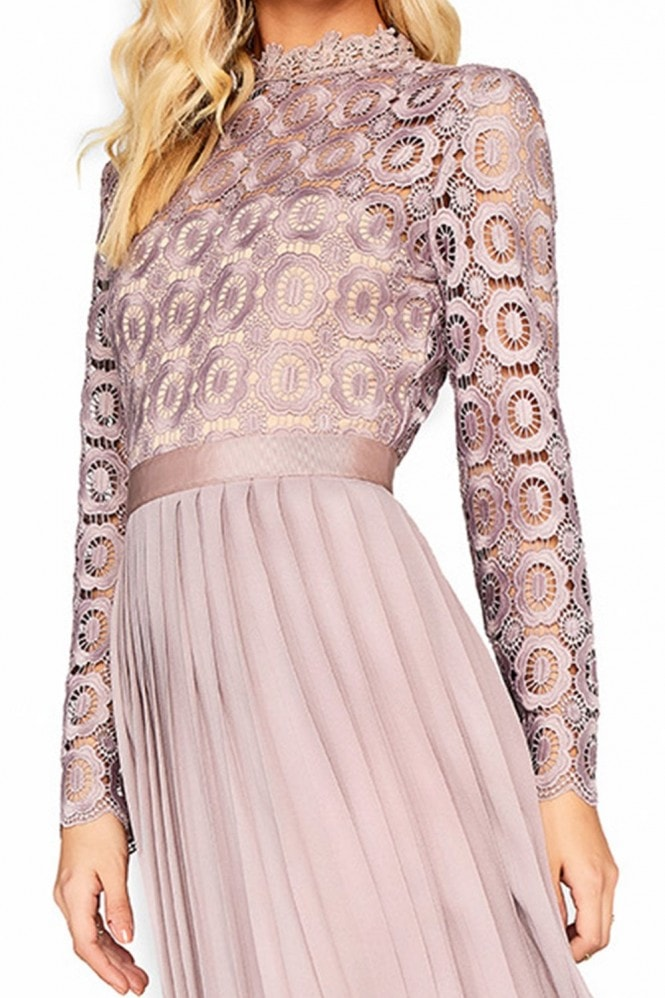 Little Mistress Alice Oyster Crochet Top Midaxi Dress With Pleated Skirt