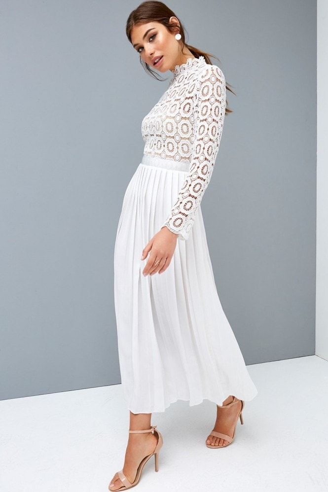Little Mistress Alice White Crochet Top Midaxi Dress With Pleated Skirt