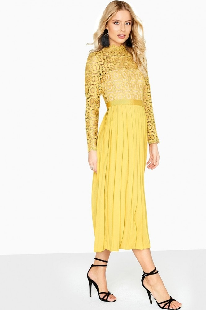 Petite Alice Mustard Crochet Top Midaxi Dress With Pleated Skirt