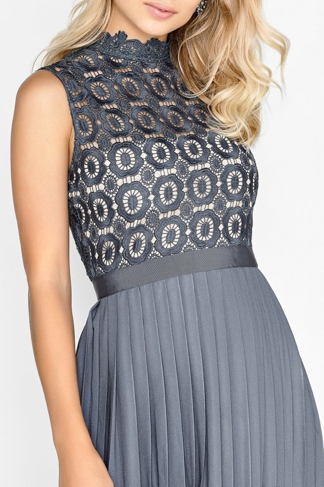 Little Mistress Alice Grey Sleeveless Crochet Top Midaxi Dress With Pleated Skirt