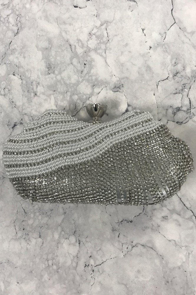 Silver Diamanté and Pearl Clutch Bag