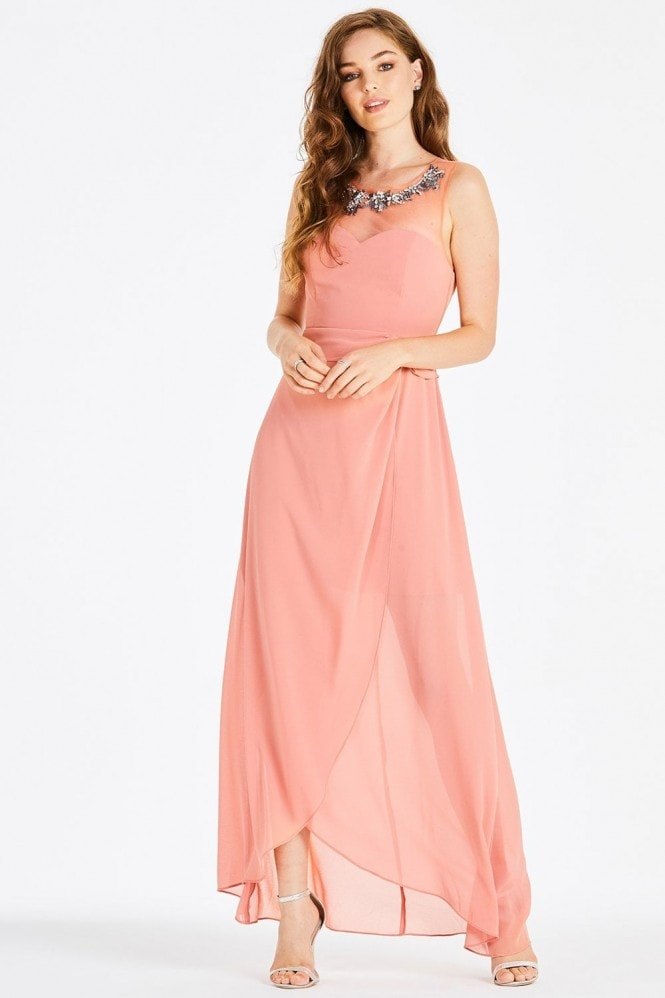 Little Mistress Carrie Orange Hand-Embellished Maxi Dress