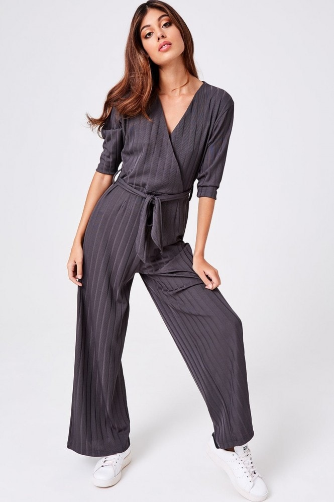 Girls on Film Lithe Charcoal Wide-Leg Jumpsuit