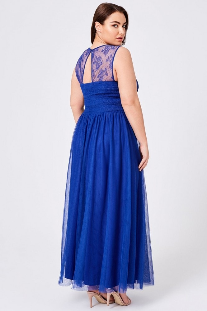 Little Mistress Curvy Karly Cobalt Lace Hand-Embellished Maxi Dress