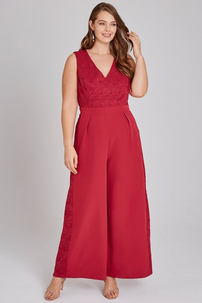 Little Mistress Curvy Nadja Red Lace Top Jumpsuit