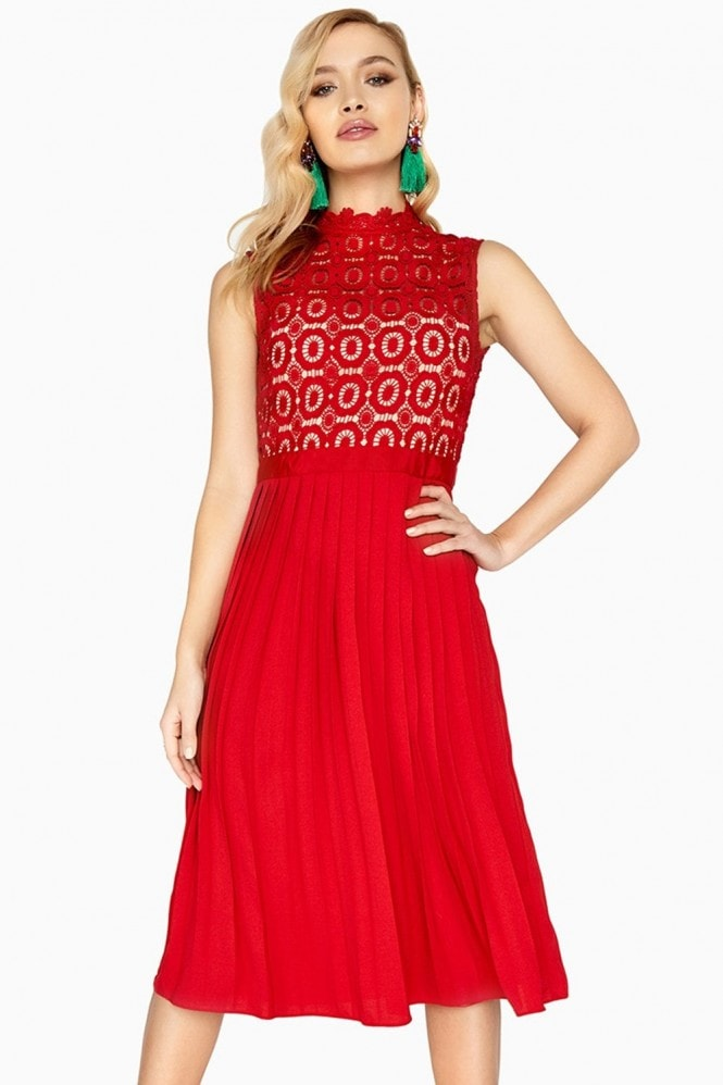 Little Mistress Alice Red Sleeveless Crochet Top Midi Dress With Pleated Skirt