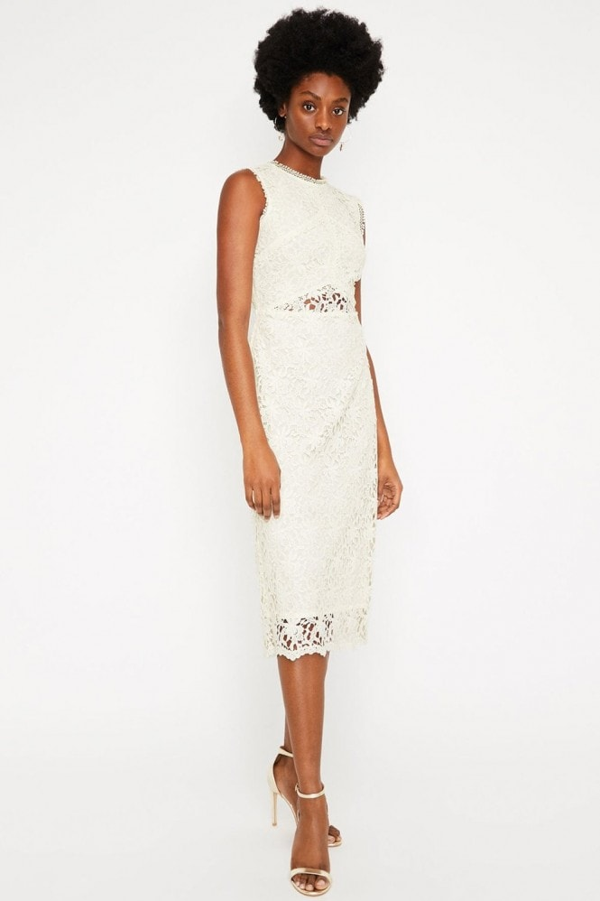 Warehouse Cream Corded Lace Midi Dress