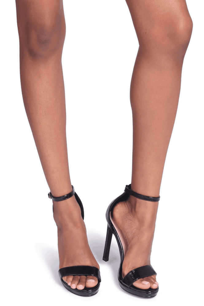 Linzi Gabriella Black Patent Barely There Stiletto Heels With Slight Platform