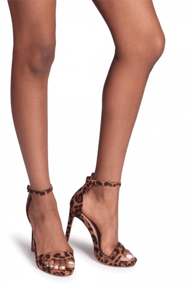 Linzi GABRIELLA - Brown Leopard Suede Barely There Stiletto Heel With Slight Platform