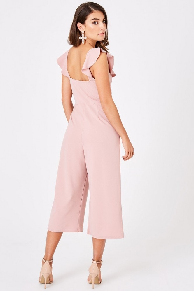 Outlet Girls On Film Veto Dusty Pink Frill Culotte Jumpsuit