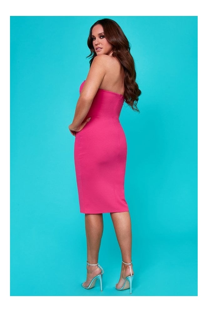 Goddiva Vicky Pattison Cerise Buckle Bandeau Midi Dress