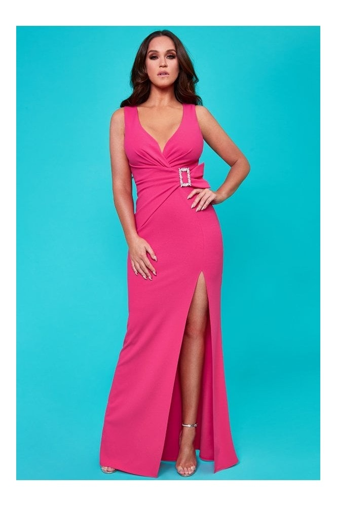 Goddiva Vicky Pattison Cerise Buckle Front Maxi Dress