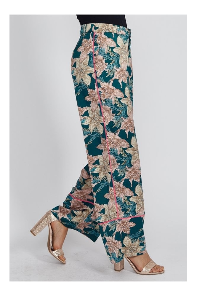 Liquorish Green Floral Trousers With Hot Pink Piping