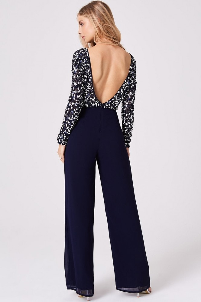 Little Mistress Luxury Brice Navy Hand-Embellished Sequin Jumpsuit