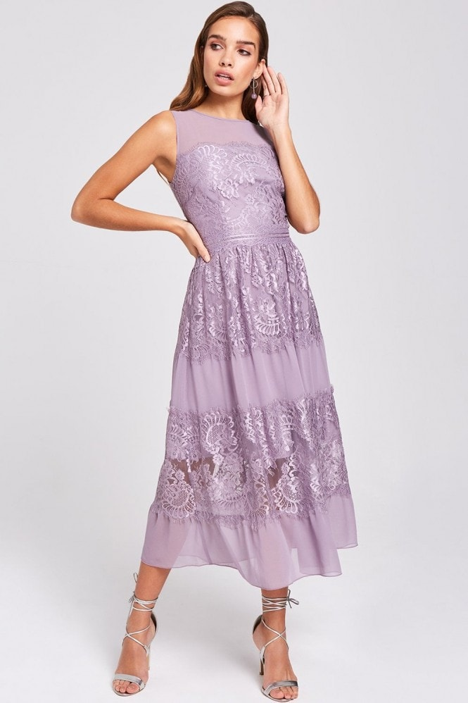 Little Mistress Paige Lavender Lace Midi Dress