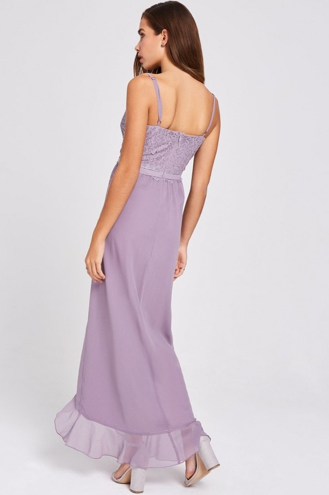 Little Mistress Paige Lavender Lace And Frill Maxi Dress