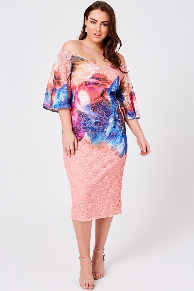 Little Mistress Curvy Rae Printed Lace Midi Dress