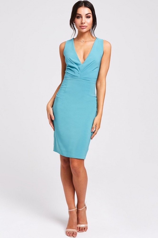 Paper Dolls Cadiz Aqua Plunge Dress