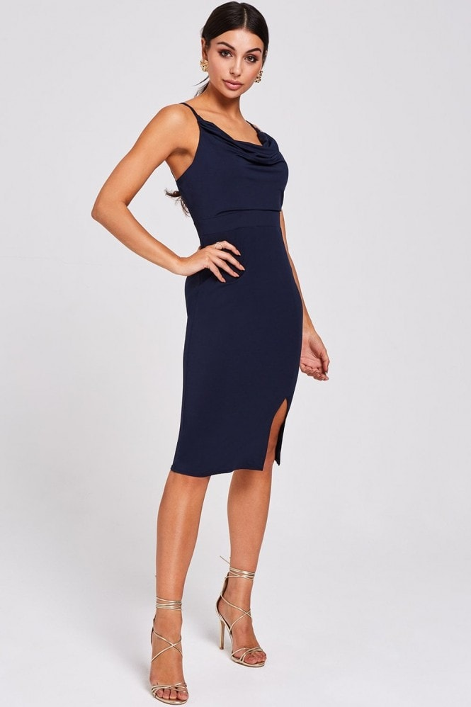 Paper Dolls Solon Navy Cowl-Neck Dress