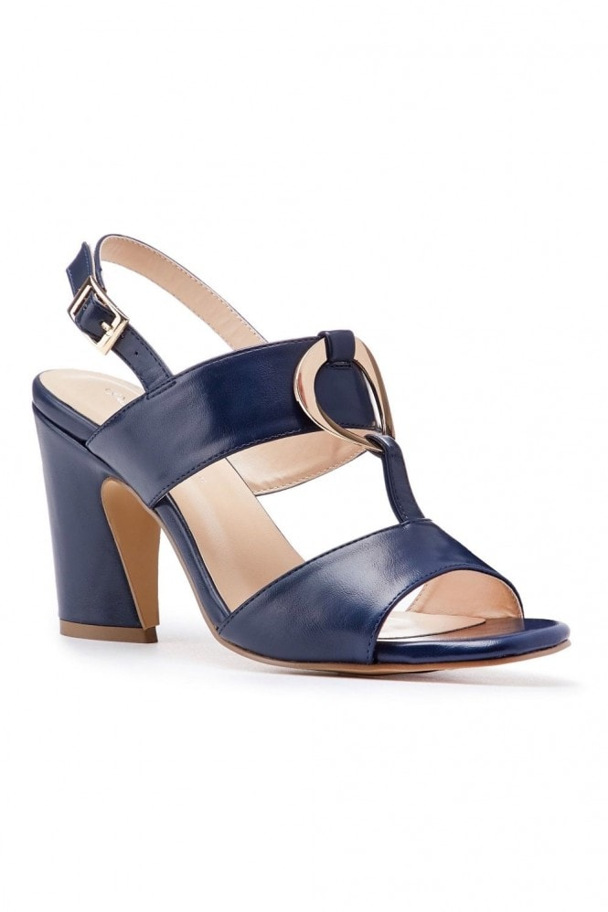 Paradox London Harding Navy High Block Heel Sandals