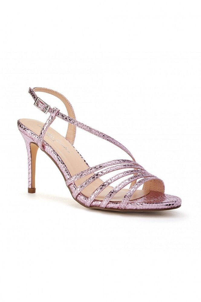 Paradox London Hailey Pink High Heel Snake Print Caged Sandals
