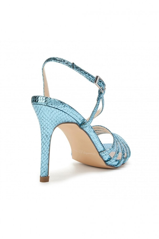 Paradox London Hailey Turquoise High Heel Snake Print Caged Sandals