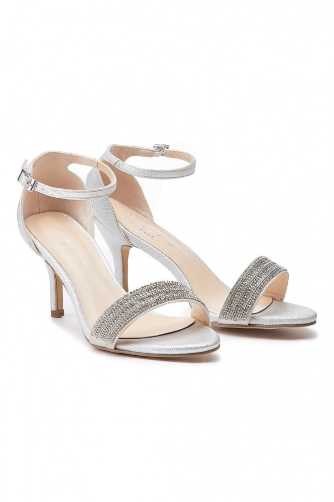 Paradox London Hilma Wide Fit Silver Low Heel Barely There Sandals