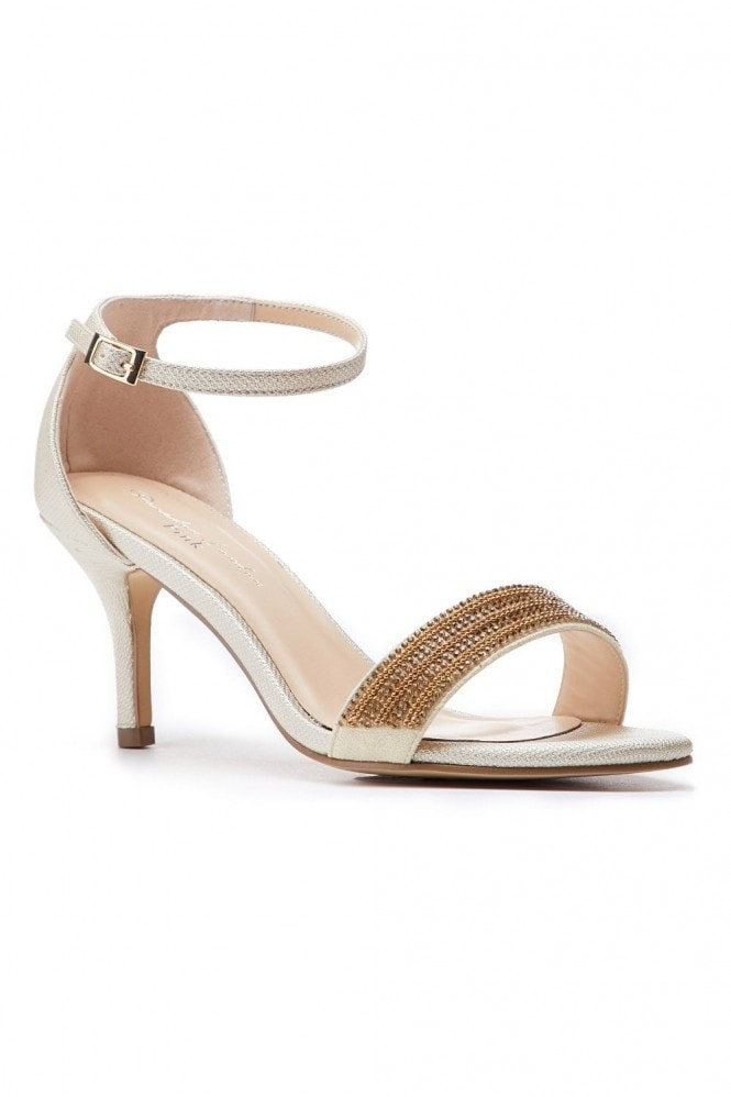 Paradox London Hilma Wide Fit Champagne Low Heel Barely There Sandals