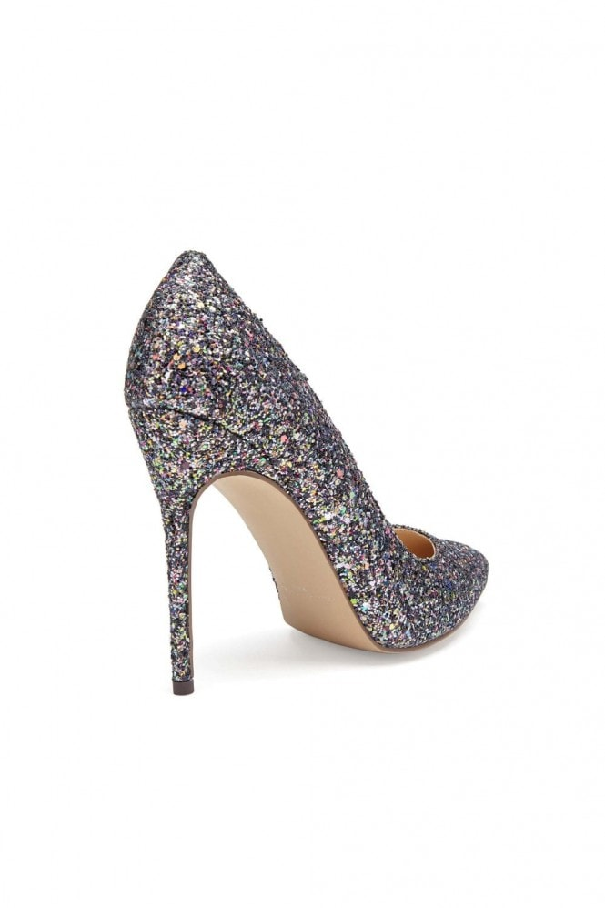 Paradox London Cosmic Black Multi Glitter High Heel Court Shoes