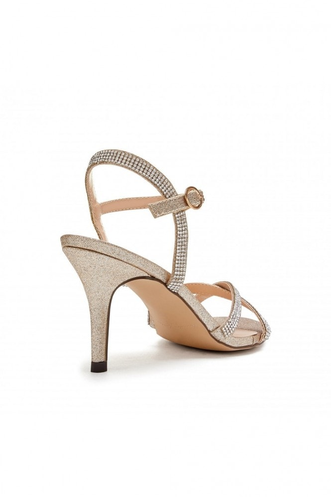 Paradox London Riva Champagne Low Heel Ankle Strap Sandals