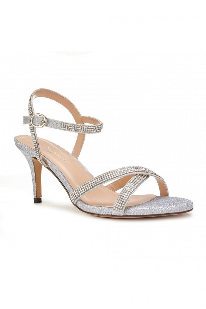 Paradox London Riva Silver Low Heel Ankle Strap Sandals