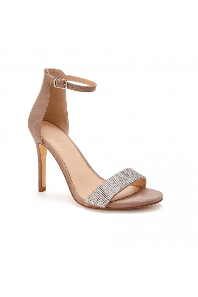 Paradox London Vista Taupe High Heel Barely There Ankle Strap Sandals