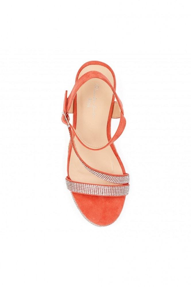 Paradox London Yoki Coral High Heel Ankle Strap Espadrilles