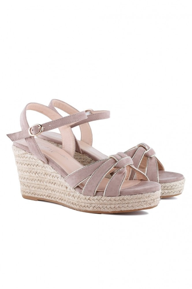 Paradox London Theodore Taupe Micro Suede Wedge Heel Espadrilles