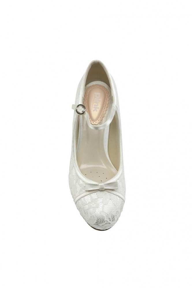 Paradox London Cupcake Ivory Low Heel Lace Mary Jane Shoes