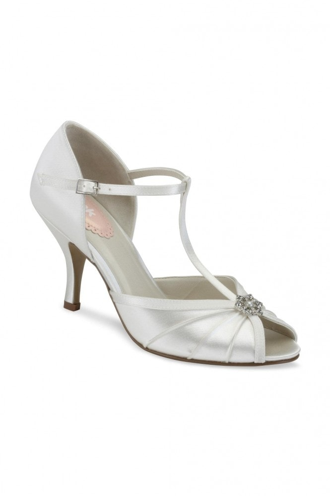 Paradox London Perfume Ivory Low Heel T-Bar Peep Toe Sandals