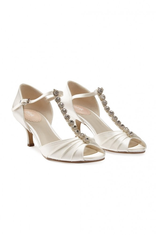 Paradox London Fantasy Ivory Low Heel T-Bar Diamante Sandals