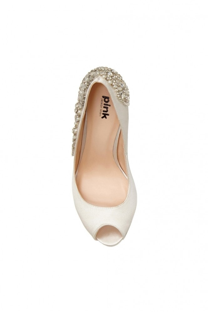 Paradox London Indulgence Ivory High Heel Platform Peep-Toe Shoes